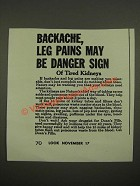 1942 Doan's Pills Ad - Backache, Leg Pains May be Danger Sign