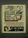 1942 3-in-One Oil Ad - Oil Your Washer Now