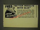 1939 McCormick's Iron Glue Ad - Better Results With Glue