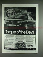 1984 Alfa Romeo Sprint Car Ad - Torque of the Devil!!