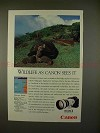 1991 Canon EOS 1 Camera Ad w/ Galapagus Tortoise - NICE