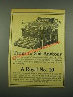 1915 Royal No. 10 Typewriter Ad - Terms to Suit Anybody