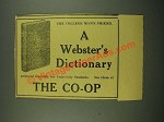 1915 Webster's Dictionary Ad - The College Man's Friend