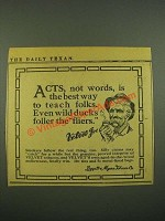 1915 Velvet Tobacco Ad - Acts, Not words