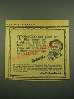 1915 Velvet Tobacco Ad - Like Tunes an' Fiddles