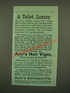 1886 Ayer's Hair Vigor and Sarsaparilla Ad - A Toilet Luxury