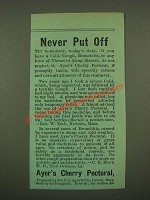 1886 Ayer's Cherry Pectoral Ad - Never Put Off