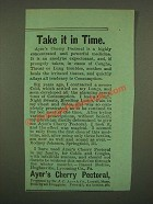 1886 Ayer's Cherry Pectoral Ad - Take it In Time
