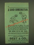 1886 Best & Co. Liliputian Bazaar Children Clothes Ad - Good Combination