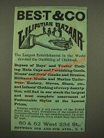 1886 Best & Co. Liliputian Bazaar Children Clothes Ad