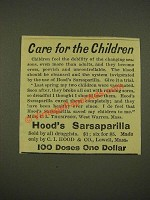 1886 Hood's Sarsaparilla Ad - Care for the Children