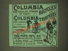 1886 Columbia Bicycles and Tricycles Ad - The Popular Steeds