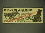 1886 Comfort Chair Co. Invalid Rolling Chair Ad