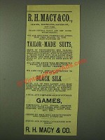 1885 R.H. Macy & Co. Tailor-Made Suits, Black Silk and Games Ad