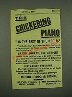 1885 Chickering & Sons Piano Ad - The Best in the World