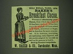 1885 Baker's Breakfast Cocoa Ad - Gold Medal, Paris