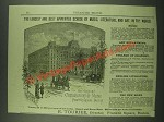 1883 New England Conservatory of Music Ad - Music, Literature and Art