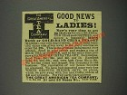 1883 The Great American Tea Company Ad - Good News to Ladies