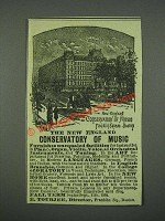 1884 New England Conservatory of Music Advertisement