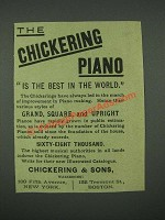 1884 Chickering Piano Ad - Is the Best in the World