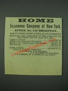 1884 Home Insurance Company of New York Ad