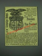 1884 F.O. Wehoskey & Co. President and Vice President Campaign Badge Ad
