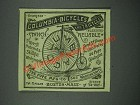 1884 Columbia Bicycles and Tricycles Ad - Pleasure Reliable