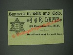 1884 J&R Lamb Banners Ad - In Silk and Gold