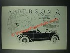 1919 Apperson 8 Car Ad - The Eight With Eighty Less Parts