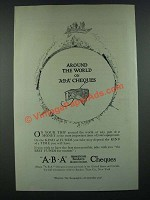 1919 A.B.A. American Bankers Association Cheques Ad - Around the World