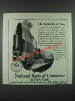 1919 National Bank of Commerce in New York Ad - Element of Time