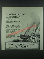 1919 National Bank of Commerce in New York Ad - When a Business Grows
