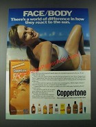1987 Coppertone Face Sunblocking Lotion Ad - Face/Body