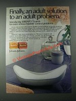 1987 Johnson & Johnson Serenity Guards Ad - An Adult Solution