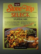 1987 Stove Top Select Stuffing Mix Ad