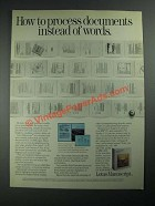 1987 Lotus Manuscript Ad - How to Process Documents Instead of Words