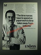 1987 Unisys Computer Systems Ad - The Time Nurses Spend on Paperwork