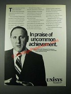 1987 Unisys Computer Systems Ad - In Praise Of Uncommon Achievement