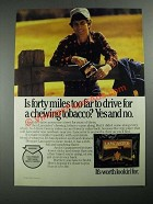 1987 Lancaster Tobacco Ad - Is Forty Miles Too Far to Drive