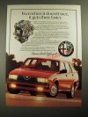 1987 Alfa Romeo Milano Ad - Even When It Doesn't Race, It Gets There Faster