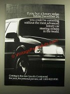 1987 Lincoln Continental Ad - Could Be Cornering Without