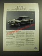 1987 Cadillac De Ville Ad - The Contemporary Spirit