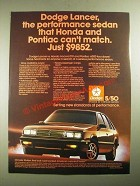 1987 Dodge Lancer Ad - The Performance Sedan