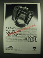 1987 Minolta Maxxum 9000 Camera Ad - Two Most Dynamic Forces
