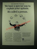 1987 First Investors Ad - Explain Your Options
