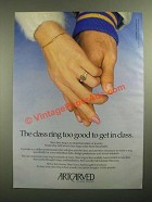 1987 ArtCarved Class Rings Ad - Too Good To Get In Class
