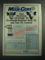 1987 Y-Tex Max-Con insecticide ear tags Ad - Horn Fly