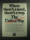 1987 United Way Ad - Where There's a Need, There's a Way