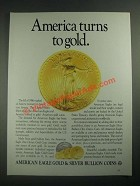 1987 United States Mint American Eagles Ad - America Turns to Gold