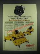 1987 Kubota Diesel Engine Ad - Excel Hustler 320 and 340 Mowers